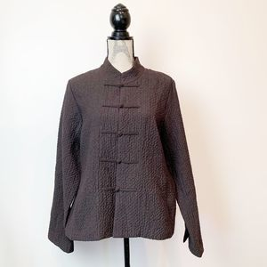 Eileen Fisher Asian Style Mandarin Brown Jacket M